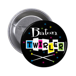 Retro Baton Twirler 6 Cm Round Badge