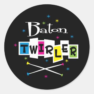 Retro Baton Twirler Classic Round Sticker