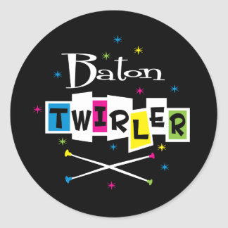 Retro Baton Twirler Round Sticker