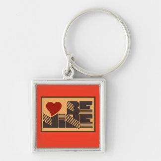 Retro Be Mine Silver-Colored Square Key Ring