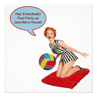 Retro Beach Ball Pool Party Personalized Announcement