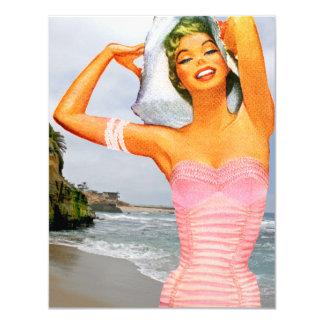 """Retro Beach Party 4.25"""" X 5.5"""" Invitation Card"""
