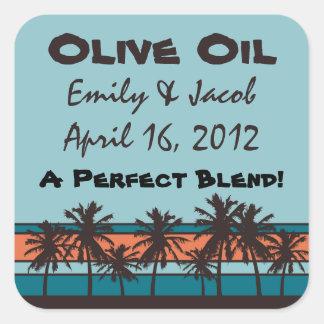 Retro Beach Personalized Olive Oil Favor Tags Square Sticker