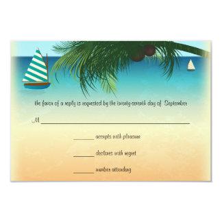 Retro Beach Scene Wedding RSVP Response Card 9 Cm X 13 Cm Invitation Card