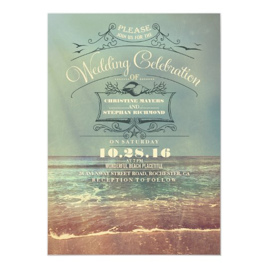 Retro beach wedding invitations - Vintage Seascape
