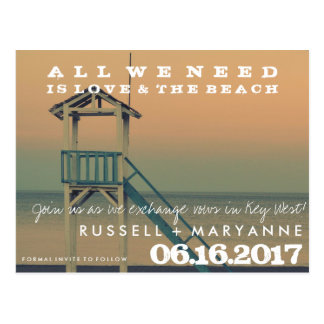 Retro Beach Wedding Save the Date Postcards