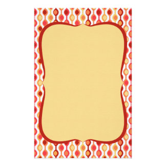 Retro Bead Pattern Yellow Orange Stationery