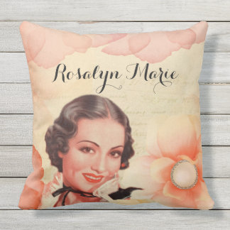 Retro Beautiful 1920s Twenties Woman Rose Petals Outdoor Cushion