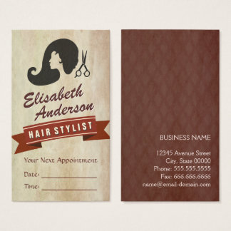 Retro Beauty - Hair Salon Stylist Appointment Business Card
