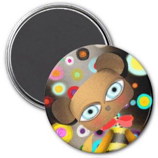 Retro Bee Bear 7.5 Cm Round Magnet