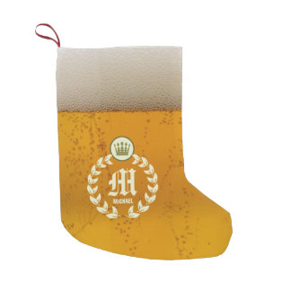 Retro Beer and Personalized Monogram Small Christmas Stocking