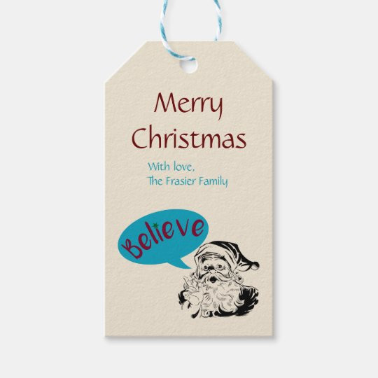 Retro Believe in Santa Christmas Gift Tags