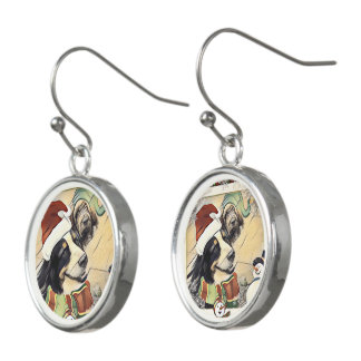 Retro Bernese Mountain  Dog Christmas earrings