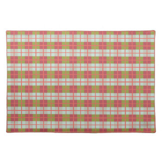 Retro Berry Mint Olive Pebble Plaid Placemat