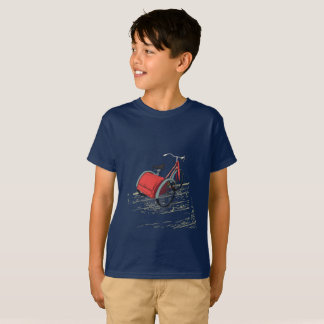 Retro bicycle on easy wear blue t-shirt. T-Shirt