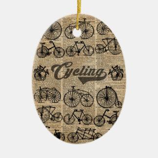 Retro Bicycles Vintage Illustration Dictionary Art Ceramic Oval Decoration