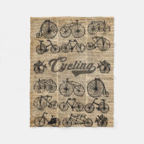 Retro Bicycles Vintage Illustration Dictionary Art Fleece Blanket