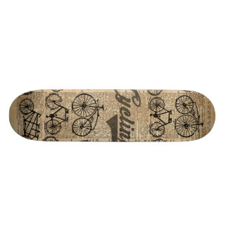 Retro Bicycles Vintage Illustration Dictionary Art Skate Board