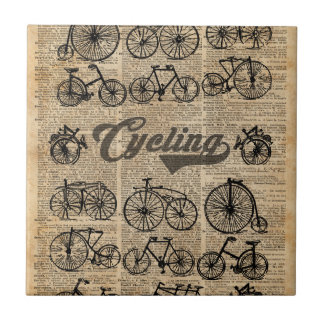 Retro Bicycles Vintage Illustration Dictionary Art Tile