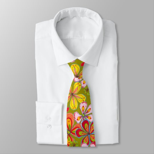 Retro Big Flowers Art Colourful Novelty Tie