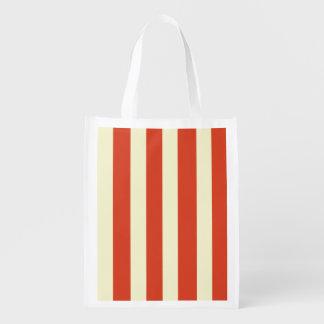 Retro Big Top Striped Reusable Grocery Bag