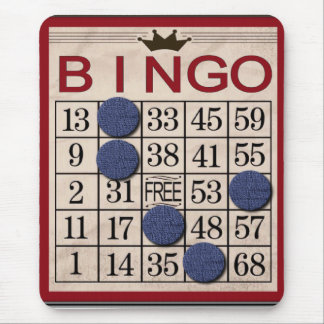Retro Bingo Card Funny Mouse Mat