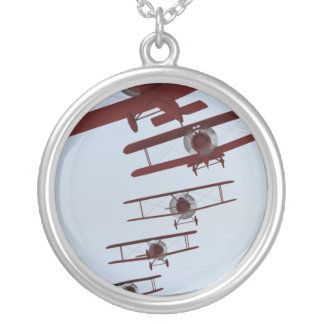 Retro Biplane Silver Plated Necklace