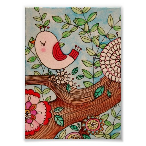 Retro bird, branch, and flowers poster