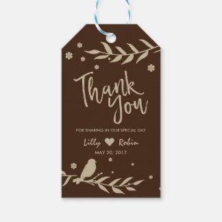 Retro Bird on Leaf Wedding Thank You Gift Tags