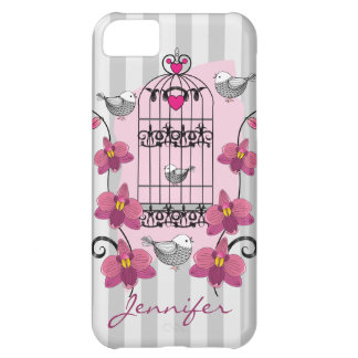 Retro birds, cage, orchids and Name iPhone 5C Case