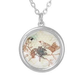 Retro Birds Silver Plated Necklace
