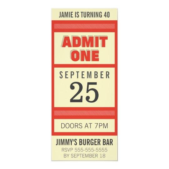 Retro Birthday Party Event Ticket Invitation