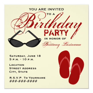 Retro Birthday Party Invite Flip Flops Sunglasses