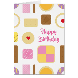 Retro Biscuits & Cakes Personalised Greeting Card
