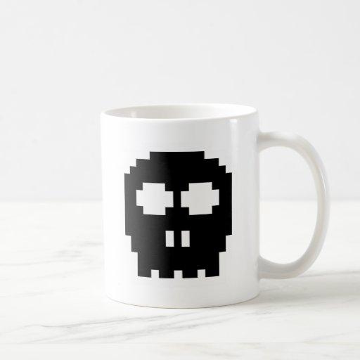 Retro Black 8-bit Skull Mug