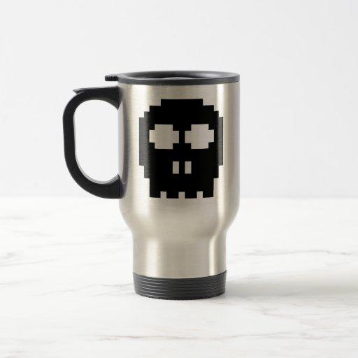 Retro Black 8-bit Skull Coffee Mug