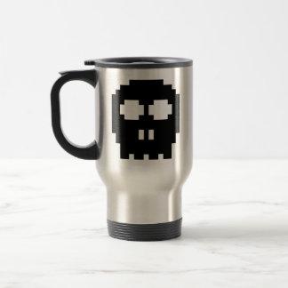 Retro Black 8-bit Skull Stainless Steel Travel Mug