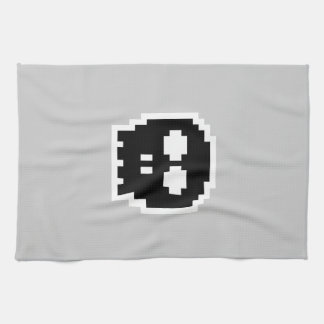 Retro Black 8-bit Skull Tea Towel