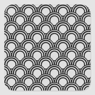 Retro Black and White Art Deco Abstract Pattern Square Sticker