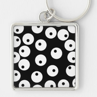 Retro black and white circle design. keychains