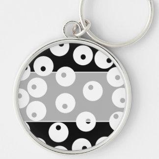 Retro black and white circle design. key chains