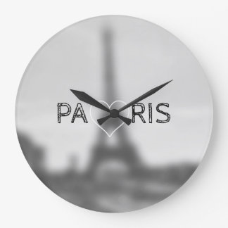 Retro black and white clock with Eiffel Tower