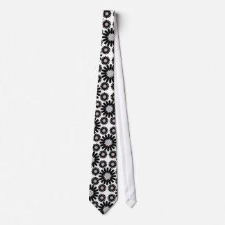 retro black and white flower pattern tie