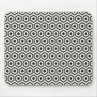Retro Black and White Honeycomb Pattern Mouse Pad