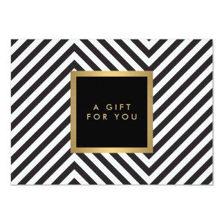 Retro Black and White Pattern Glam Gold Gift Cert 11 Cm X 16 Cm Invitation Card