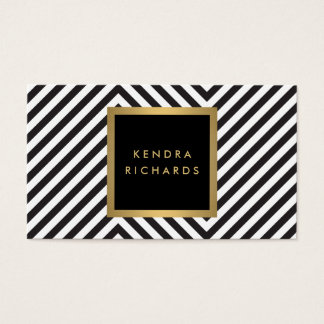 Retro Black and White Pattern Glam Gold Name Logo Business Card
