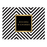 Retro Black and White Pattern Glam Gold Name Logo Postcard