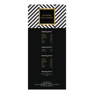 Retro Black and White Pattern Glam Gold Name Logo Rack Card