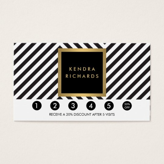 Retro Black and White Pattern Glam Loyalty Card