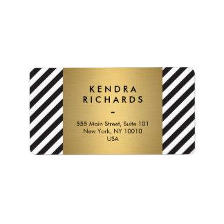 Retro Black and White Pattern Gold Name Logo Address Label